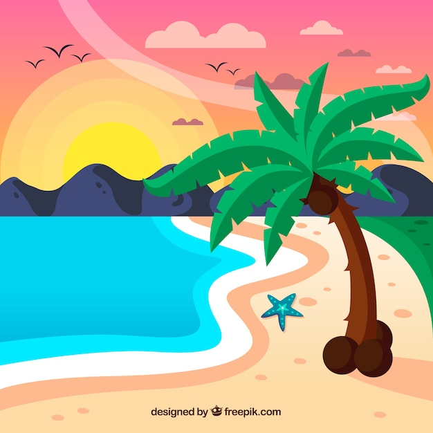 Tropical background with sunset on the\ beach