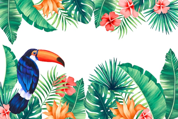 Tropical background with toucan and exotic leaves Free Vector
