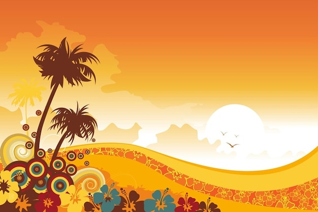 Tropical Island Beach Ambience Sound: Tropical Background Vector