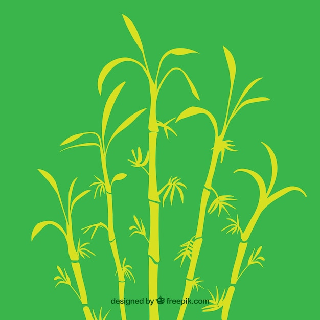 Tropical bamboo tree silhouettes Free Vector