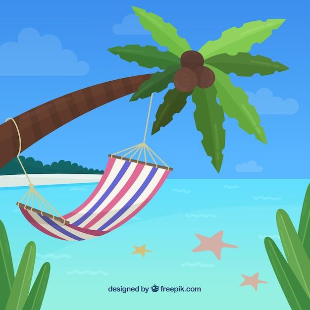 Тропический пляж фон с гамаком Бесплатные векторы