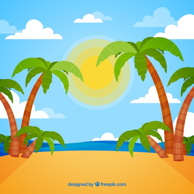 Tropical beach background with palm\ trees