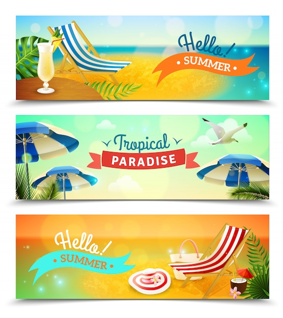 Tropical beach banners set Free Vector