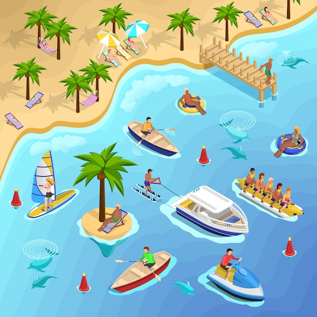 Tropical beach boating background Free Vector