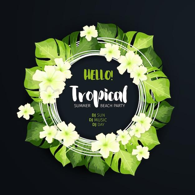 Tropical beach party circle banner Free Vector