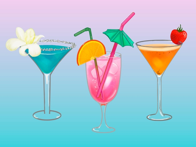 Tropical beach party cocktail illustration Free Vector