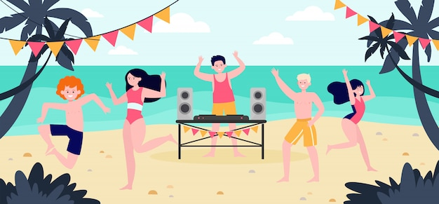 Tropical beach party Free Vector