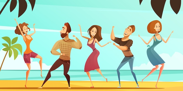 Tropical beach vacation party poster with men and women dancing poses with ocean background Free Vector