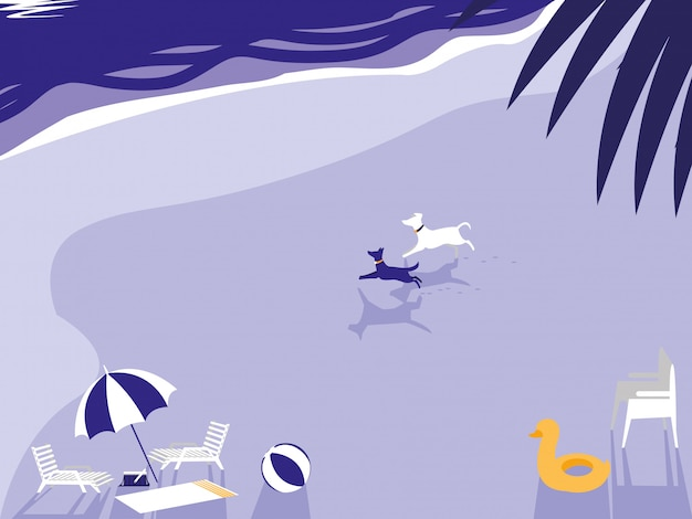 Tropical beach with dogs mascot and umbrella Premium Vector