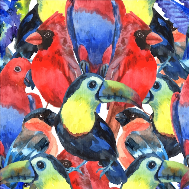 Tropical birds colorful composition seamless\ pattern for screen printing with parrots
