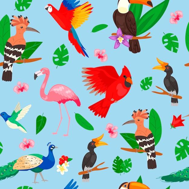 熱帯の鳥、ジャングルの夏のシームレスパターン Premiumベクター