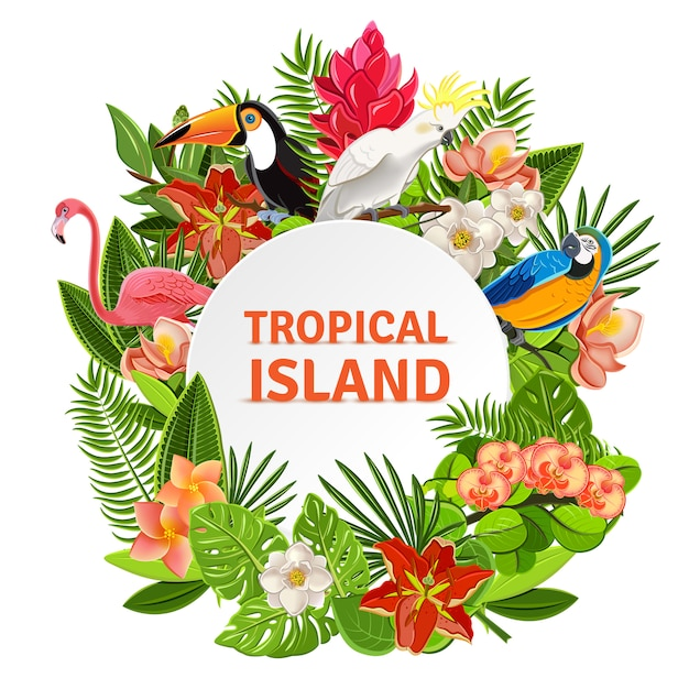 Tropical birs and flowers Free Vector