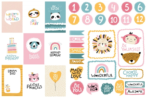 Tropical birthday collection. card numbers, posters and template frames. cute face of an animal with lettering for nursery in a scandinavian style. cartoon illustration in pastel colors Premium Vector