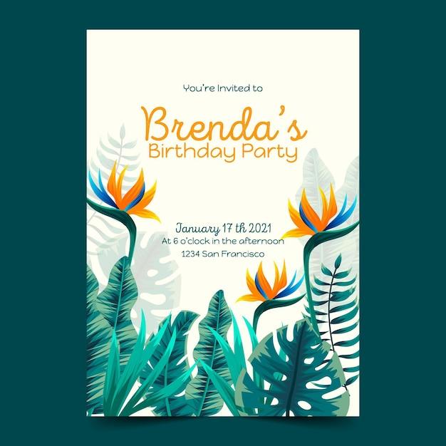 熱帯の誕生日の招待状のテンプレート 無料ベクター