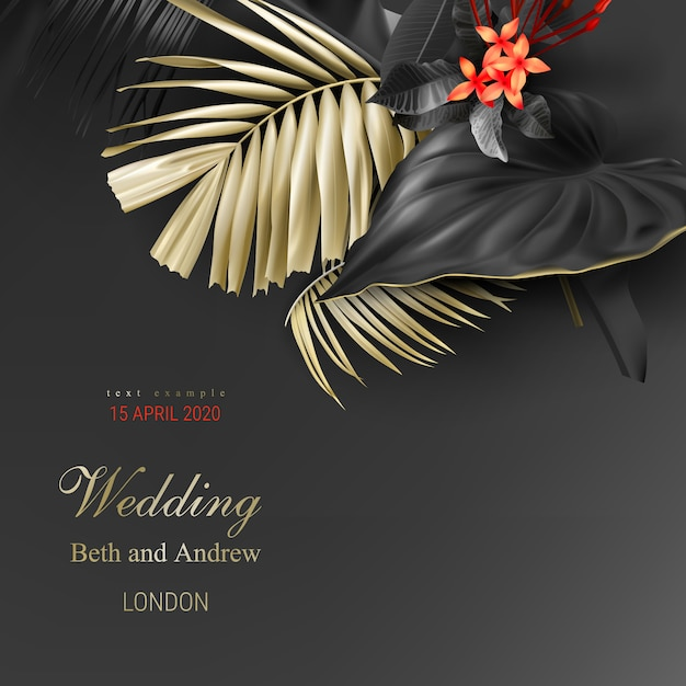 Tropical black and gold leaves on dark background vector poster Free Vector