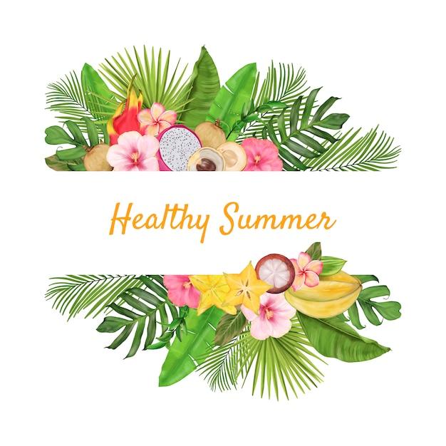 エキゾチックなフルーツ、花、葉を持つ熱帯の国境 Premiumベクター