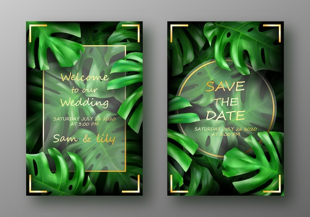 Tropical bright green monstera leaves Free Vector