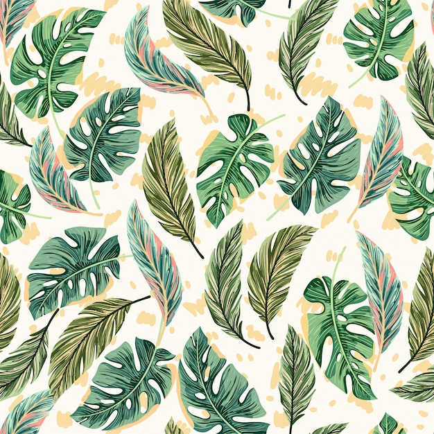 Tropical bright palm leaves seamless pattern Premium Vector