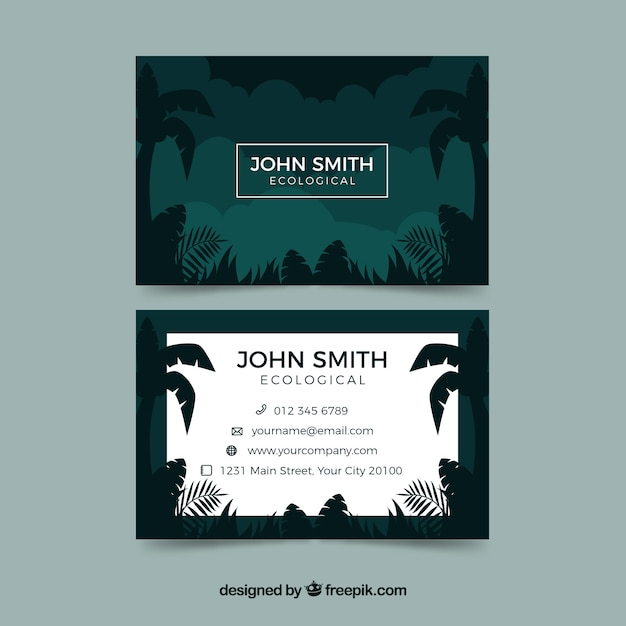 tropical business card template free vector
