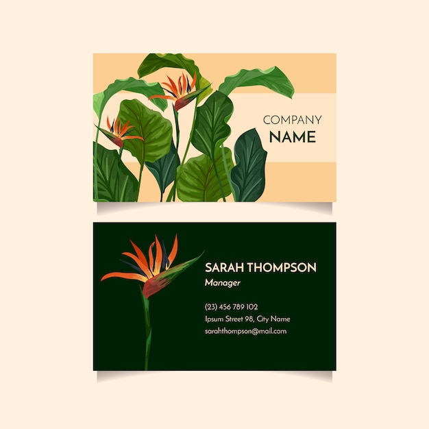Tropical business card Free Vector