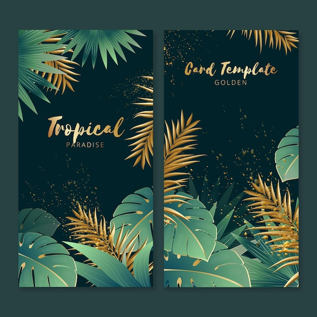 Tropical cards with golden splashes Free Vector