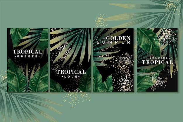 Тропические карты с золотыми брызгами Бесплатные векторы