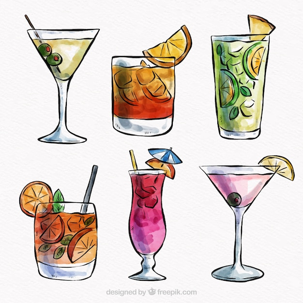 Tropical cocktail collection with watercolor style Free Vector