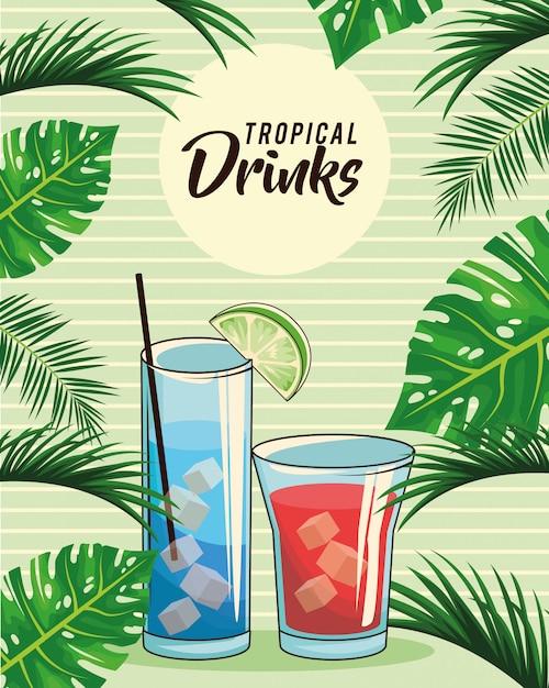 Плакат с тропическими коктейлями Premium векторы