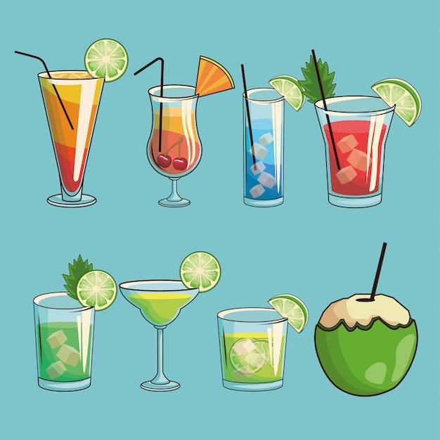 Tropical cocktail poster Premium Vector