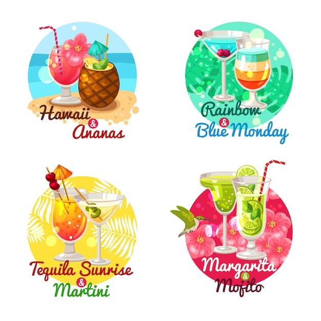 Tropical cocktails flat Free Vector