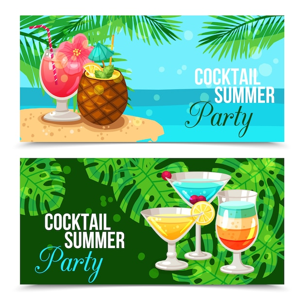 Tropical cocktails horizontal banners Free Vector