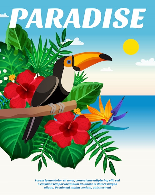 Tropical colored composition Free Vector