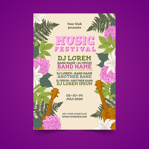 Tropical colorful music poster Free Vector