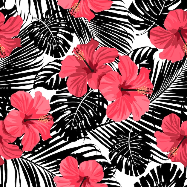Tropical Coral Flowers And Leaves On Black White Background Seamless