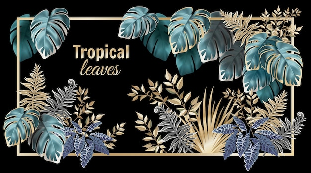 Palme e liane tropicali delle foglie scure. Vettore gratuito