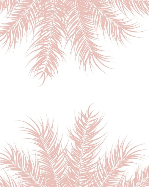 Tropical design with pink palm leaves and plants on white background Premium Vector