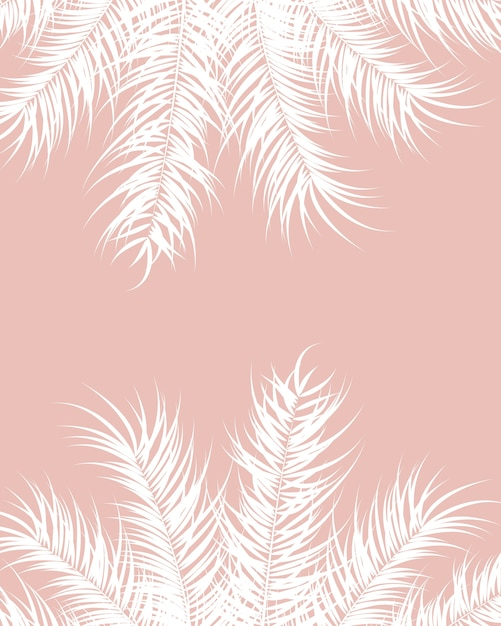 Tropical design with white palm leaves and plants on pink background Premium Vector