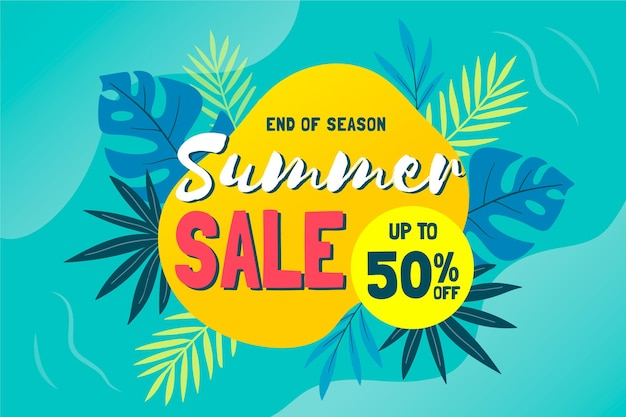 Tropical end of summer sales background Free Vector