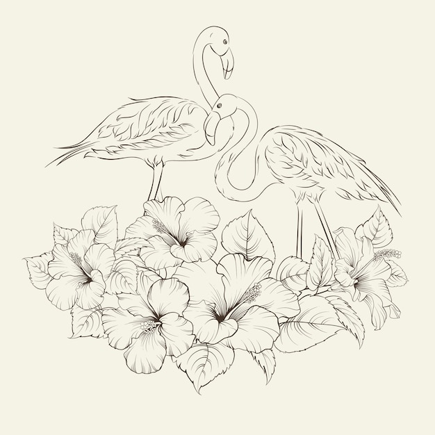 Tropical exotic flowers with elegant flamingos birds over gray Free Vector