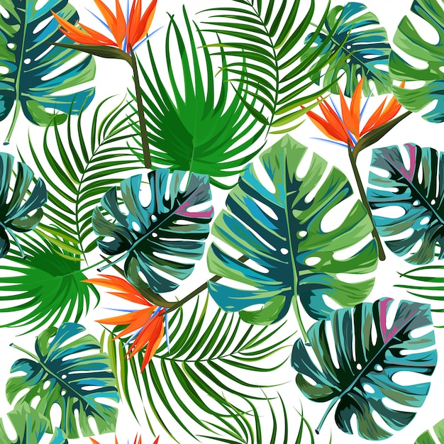 Tropical exotic palm leaves pattern. Premium Vector