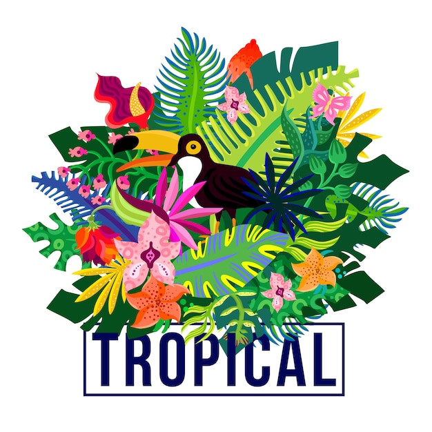 Tropical exotic plants colorful composition Free Vector