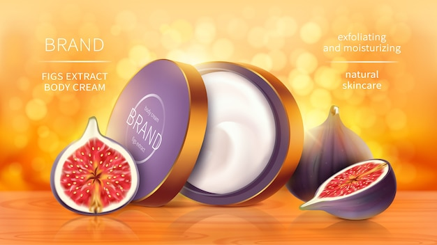 Tropical figs cosmetics realistic vector background. open jar with cosmetic skin care product, whole and sliced purple fig fruit on bright orange blurred background with golden sunny bokeh Free Vector