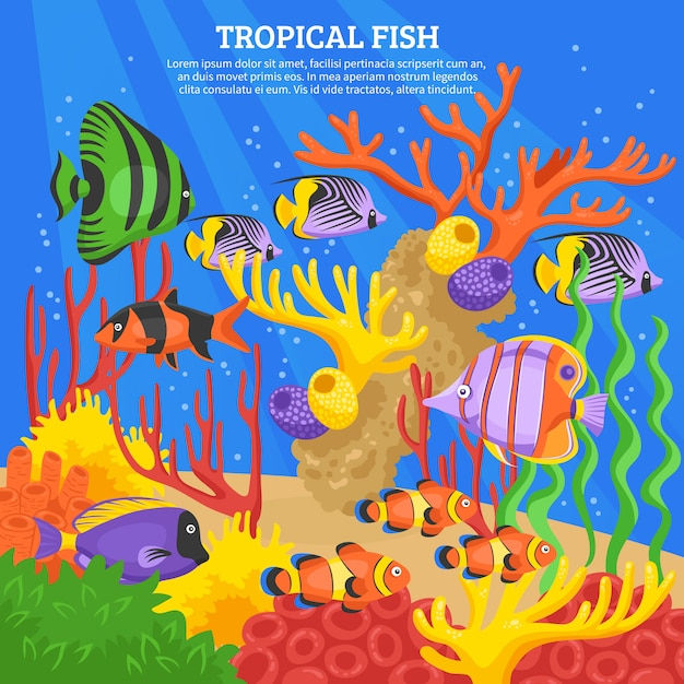 Tropical fish sea background Free Vector
