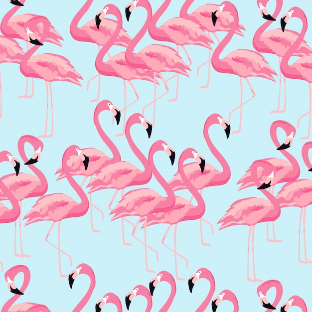 Tropical flamingo bird seamless pattern background Premium Vector