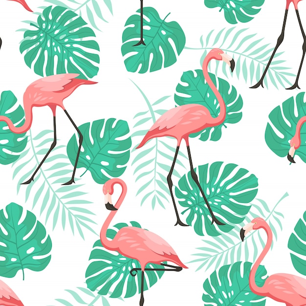 Tropical flamingo seamless pattern for wallpaper Premium Vector