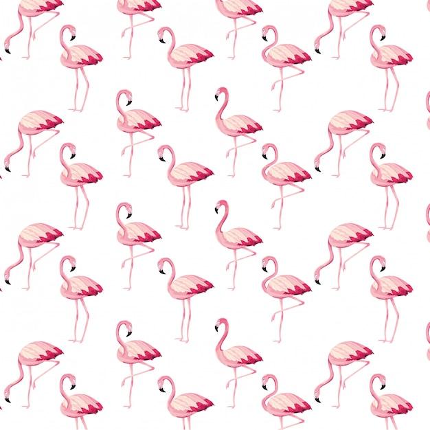 Tropical flamingos cartoon seamless pattern Premium Vector