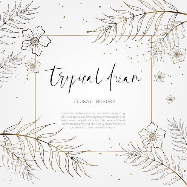 Tropical floral border for save the date wedding anniversary card design Premium Vector