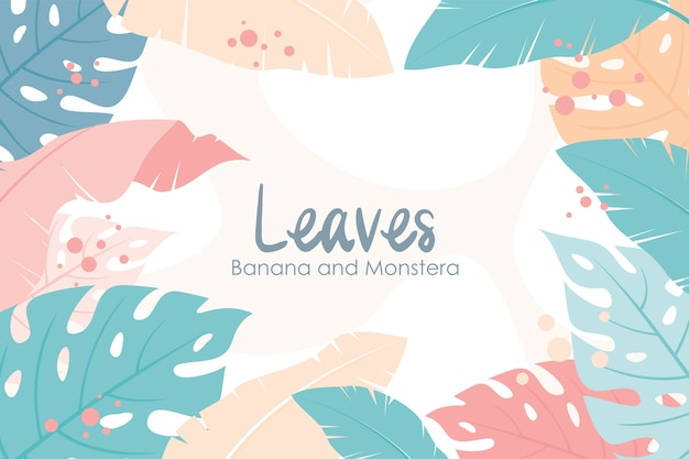 Tropical floral frame and background, banana leaf and monstera leaf composition  style Premium Vector