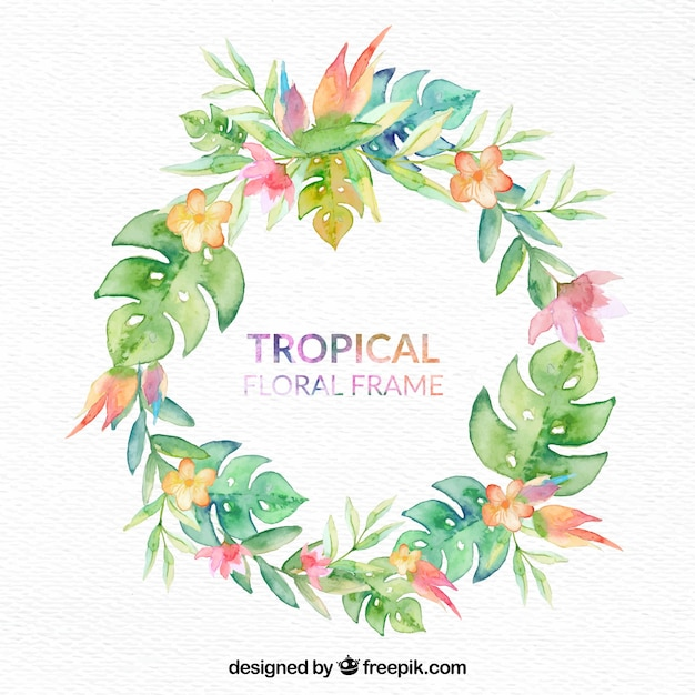 Tropical floral frame Free Vector