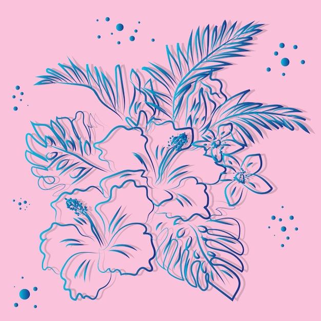 熱帯の花柄の背景 Premiumベクター